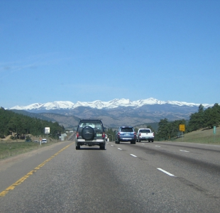 The first site of the rockies from the foothills, heading West on I-70