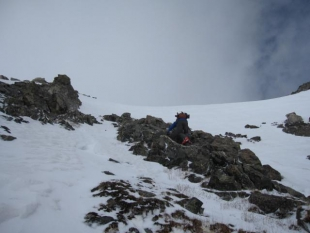 Last pitch below the summit of Wheeler Mountain