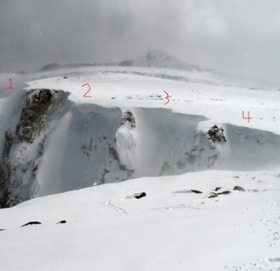 Mini AK routes 1-4, North facing lines that have a scary cornice above.