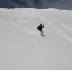 Jay making some nice powder turns in Red Lady Bowl
