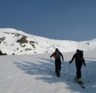 Skinning towards the south-ish slope of Deming Peak