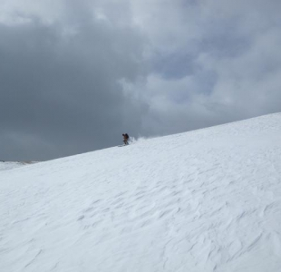 Skiing the wind crust at Geneva Basin