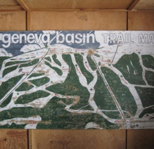 Geneva Basin Trail Map inside of the warming hut