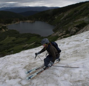 August descent at St. Mary's Glacier. The snow is a little dirty!
