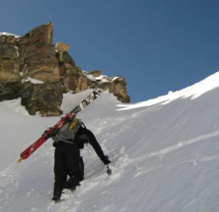 Approaching the top of Snoopy's backside couloir