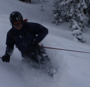 Skiing Pow in the Shop Chutes